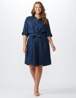 Roll Tab Denim Shirt Dress - Plus - 12