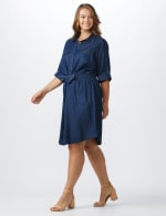 Roll Tab Denim Shirt Dress - Plus - 10