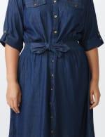 Roll Tab Denim Shirt Dress - Plus - 11