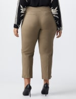 Plus - L-Pocket Pull-On Crop Pants - Taupe - Back