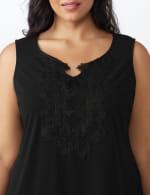 Roz & Ali Crochet Trim Crepe Hi/Lo Knit Top - Plus - 5