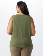 Roz & Ali Crochet Trim Crepe Hi/Lo Knit Top - Plus - Olive - Back