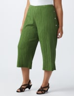Plus Pleated Crop Pant  with button trim detail - Olive - Front