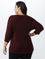 Westport Thermal Stitch Curved Hem Sweater - Plus - Florentine - Back