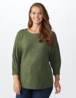 Westport Zig Zag Stitch Curved Hem Sweater - Plus - Dried Sage - Front