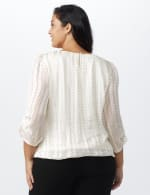 Pre-Order Roz & Ali Champagne  Dot Bubble Hem Blouse - Plus - Champagne - Back