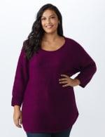 Westport Basketweave Stitch Curved Hem Sweater - Plus - Berry Wine - Front