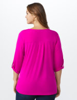 Roz & Ali Zip Front Knit Top - Plus - Bitter Berry - Back