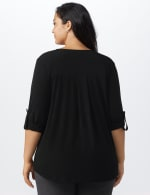 Roz & Ali Zip Front Knit Top - Plus - Black - Back