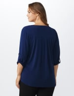 Roz & Ali Zip Front Knit Top - Plus - Shipshape Navy - Back