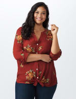 Westport Embroidered Shirt - Plus - Rust - Front