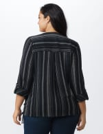 Roz & Ali Stripe Side Tie Blouse - Plus - Navy/Off white - Back