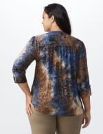 Roz & Ali Jacquard Tie Dye Knit Popover - Plus - Navy-BRN - Back