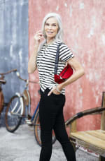 Lace Up Stripe Knit Top - Black/White - Front