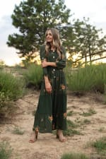 Olive Embroidered Texture Peasant Dress - 5