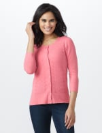 Pointelle Button-Up Cardigan - 5