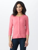 Pointelle Button-Up Cardigan - 6