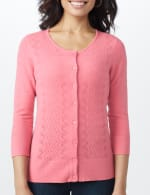 Pointelle Button-Up Cardigan - 4