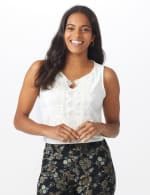 Roz & Ali Crochet Trim Crepe Hi/Lo Knit Top - 7