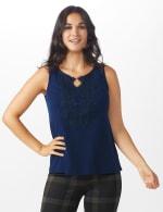 Roz & Ali Crochet Trim Crepe Hi/Lo Knit Top - Shipshape Navy - Front