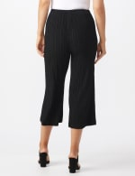 Pleated Crop Pant With Side Buttons - Black - Back