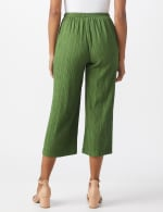 Pleated Crop Pant With Side Buttons - Olive - Back