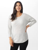 Westport Thermal Stitch Curved Hem Sweater - Misses - Fog Heather - Front