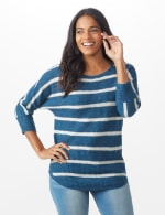 Westport Stripe Curved Hem Sweater - Misses - Vintage Denim/Silver - Front