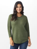 Westport Zig Zag Stitch Curved Hem Sweater - Misses - Dried Sage - Front