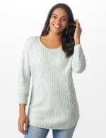 Westport Zig Zag Stitch Curved Hem Sweater - Misses - 7