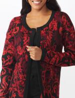 Roz & Ali Jacquard Duster Sweater - Misses - 5