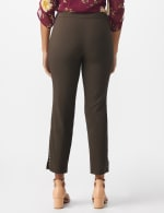 Roz & Ali Solid Superstretch Tummy Panel Pull On Ankle Pants With Rivet Trim Bottom - Cocoa - Back