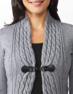 Roz & Ali Cable Front Buckle Cardigan - 4