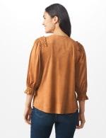 Ruched Shoulder Suede Knit Top - Camel - Back
