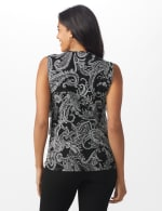 Westport Paisley Mesh Tiered Knit Top - Black - Back