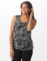 Westport Paisley Mesh Tiered Knit Top - 6
