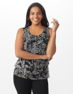 Westport Paisley Mesh Tiered Knit Top - Black - Front