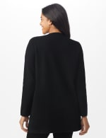 Roz & Ali Inner Beauty Coatigan Sweater - Black/Heather Grey - Back