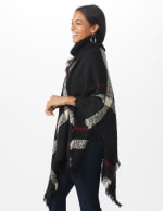 Roz & Ali Plaid Sweater Poncho - Misses - Black Combo - Detail