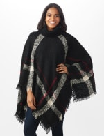 Roz & Ali Plaid Sweater Poncho - Misses - Black Combo - Front
