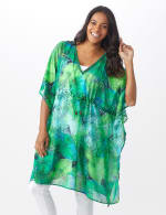 Palm Print Butterfly Cover Up - Navy - Front