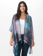 Floral Geo Printed Kimono - NAVY - Front