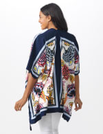 Floral Border Printed Kimono - Blue Multi - Back