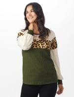Olive Animal Mix Media Knit Top - Misses - 6