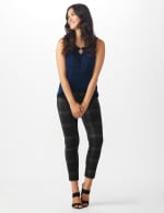 Pull On Plaid  Compression Fit Print Pant - 5