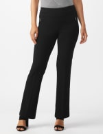 Pull On Flare Leg Pants with Zip Pockets - Black - Front