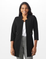 Notch Neck Topper with Side Tab and Buttons - Black - Front