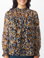 Navy Floral Blouse With Smocking And Lurex - 4