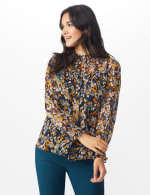 Navy Floral Blouse With Smocking And Lurex - 5