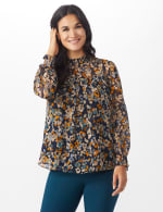 Navy Floral Blouse With Smocking And Lurex - 6